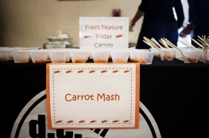Samples of carrots cooked three ways are placed on a table for the kids at Walker-Jones Educational Campus, in Washington, D.C., to sample after they have finished lunch. The crowd favorite will later end up on the school lunch menu. Claire Eggers/NPR