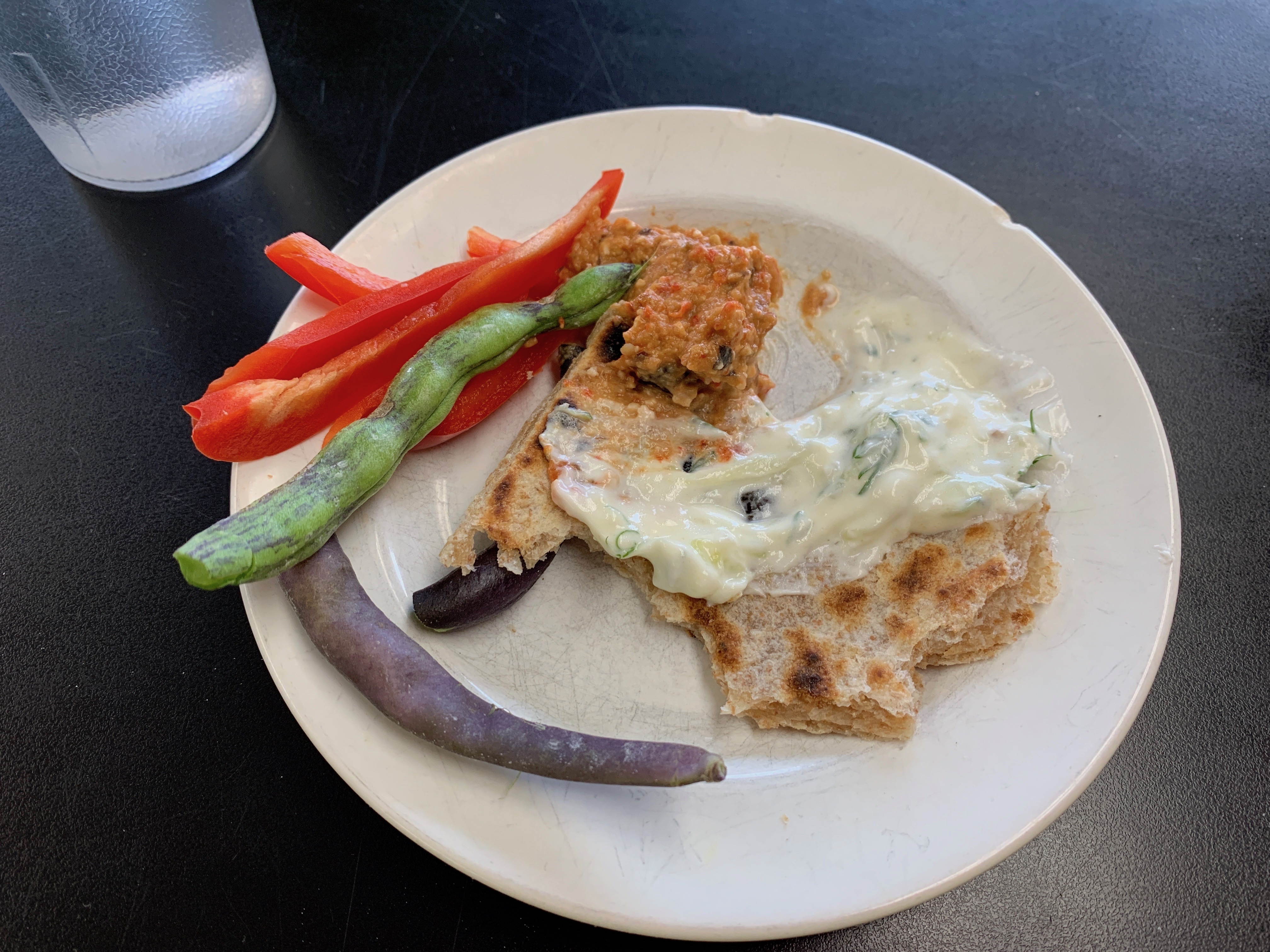 eggplant, tzatziki, flatbread